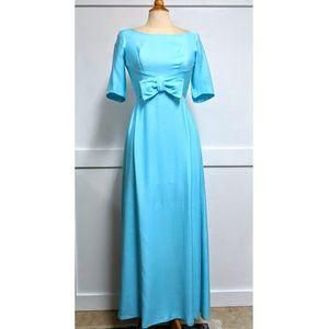 Vintage 1960's Aqua Blue Formal Maxi Dress Small